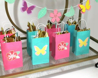 Butterfly Garden - Favor Bags |  Pink, Mint | with Gift Tag | Set of 6 | Birthday Party Favors | Spring Party | Butterfly, Flower | Gift Bag