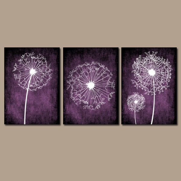 DANDELION WALL ART Purple Bedroom Wall Art Dandelion Canvas