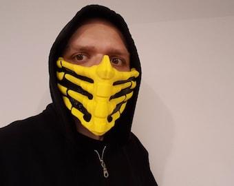 Mortal Kombat Mask, Mortal Kombat Scorpion, Cosplay, Halloween Costume, Air Soft Mask, Print 3D, Christmas Gift