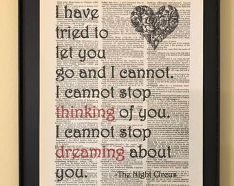 I have tried to let you go and I cannot; Night Circus Page Art;