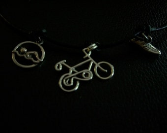 Triathlon Sterling Silver Charms Necklace