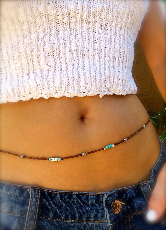 Waist Beads Belly Chain Boho Body Jewelry Turquoise Silver