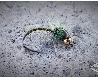 Olive Flash Bead Head Buzzer - Fly Fishing Flies