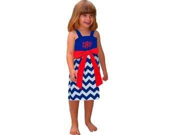 Red + Blue Chevron Dress- Girls