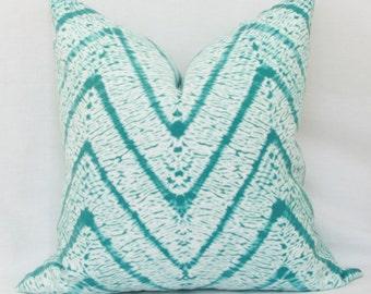 Turquoise & white batik chevron indoor/outdoor throw pillow cover. 18 x 18. 20 x 20. 22 x 22. 24 x 24. 26 x 26. outdoor pillow cover