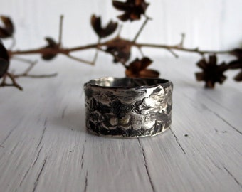 Birch Bark Ring Band, Sterling Silver