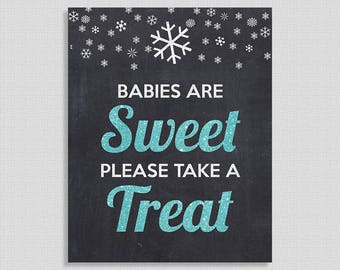Babies Are Sweet Please Take a Treat Sign, Blue Glitter Snowflake Favor Shower Table Sign, Chalkboard,  INSTANT PRINTABLE