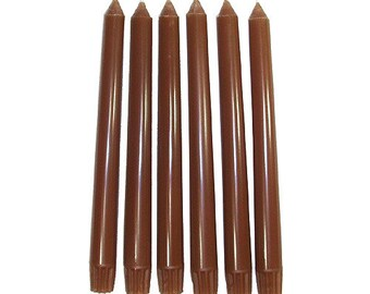 6 Autumn Brown Classic Hand-poured Unscented Taper Candles