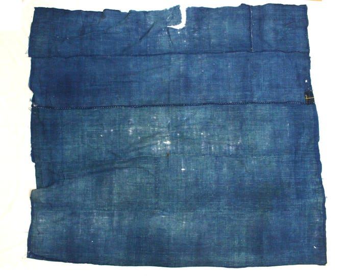 Antique Japanese Boro. Hand Woven Indigo Cotton Fabric. Hand Stitched and Patched Folk Textile.  (Ref: 1823)