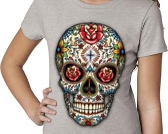 Girl's Skull Shirt Sugar Skull with Roses Shirt Tee T-Shirt WS-16553-3712