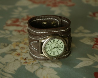 Hand stitched leather watch strap