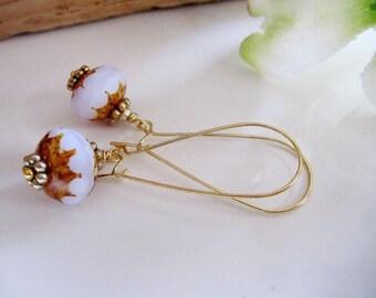 Long Dangle Earrings, Gold Earrings, White Bead, Modern Simple Daily Wear, Minimalist Jewelry