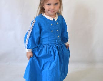 1950s/1960s Toddler Girls Blue Cotton Long Sleeve Day Dress, Size 3T