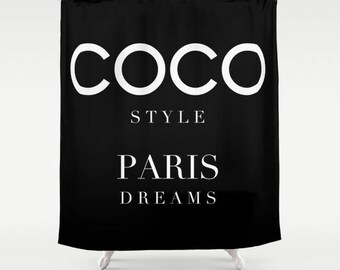 Shower Curtain Coco Inspired, Fashion Decor, Black and White, Fabric Shower Curtain, Girls Bathroom Decor, Glam Decor, Gifts for Her