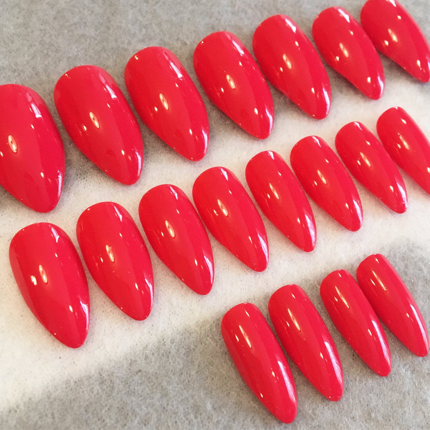 Coral-Red Fake Nails * Faux Nails * Glue On Nails * Stiletto Nails ...
