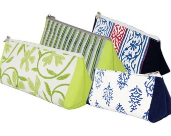 Knitter's Pride Hand Block Printed Grace Triangle Zipper Pouch - Small or Large ***Free Shipping***