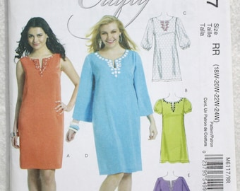 "Size RR  (18W - 24W) Bust 36"" - 42"" McCall's  Sewing Pattern 6117 Dress with Sleeve Variation and Neckline Embellishment"