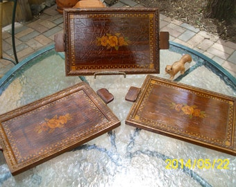 VIntage Solid Wood-Inlay-Ornate Handled Serving/Display Trays-Roses/Flowers