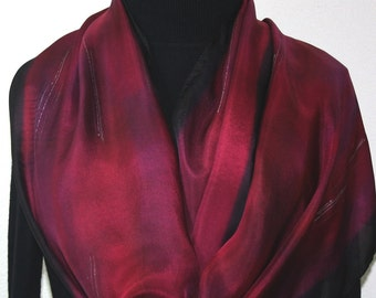 Silk Scarf Hand Painted Burgundy Black Hand Dyed Scarf Silk Shawl CHIANTI SUNSET in 2 SIZES. Birthday Gift Handmade Scarf Gift Wrapped Scarf