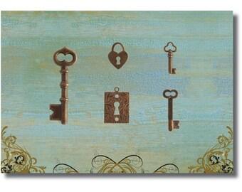 Free US shipping keys keyholes vintaj natural brass set of 5  LAST set!