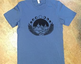 Tilly Jane Tee - Steel Blue (Original Hand-Pulled Linoleum Block Shirt) 2018