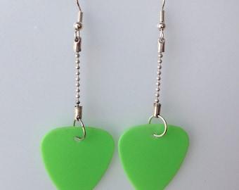 Green Guitar Pick Earrings
