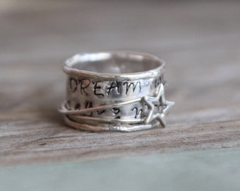 Spinner Ring  Circus Star Quote Believer