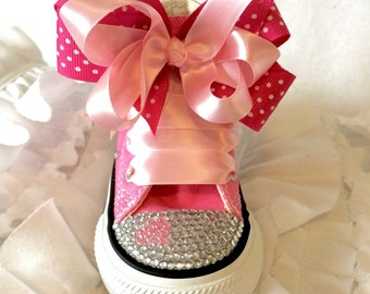 Custom made converse with heart and bows!