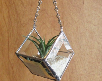Stained Glass Beveled Diamond Shaped Hanging Planter for Air Plants