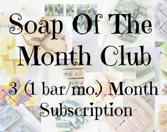 3 month (1 bar/mon.) Soap Club subscription