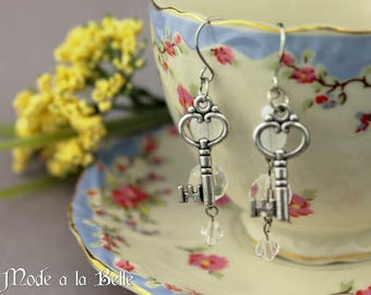 Silver Key w/ Clear Beads dangle earrings