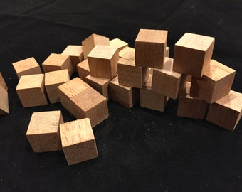 "35 pieces 3/4"" wood cubes - aromatic Spanish cedar wood cubes for DIY arts and crafts"