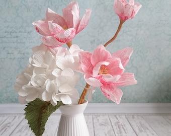 Paper flower set white hydrangea pink magnolia Fake Bridesmaids paper flower bouquet Paper flower stemblossom hydrangea Flower stem