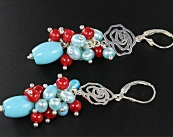 28% off Blue Turquoise, Pearl and Red Coral Cluster, and Rose Charm Earrings, Long Cluster Earrings