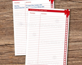 Christmas Card List Organisation Filing Sheet A4  – Instant download – Print at home