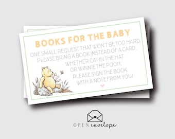 Classic Winnie the Pooh Baby Shower Book Insert | Winnie the Pooh Baby Shower | Bring A Book Card Insert | Baby Shower Insert