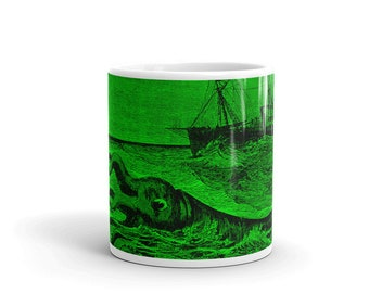 Bright Green Giant Squid Coffee Mug