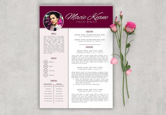 burgundy resume feminine resume resume template resume