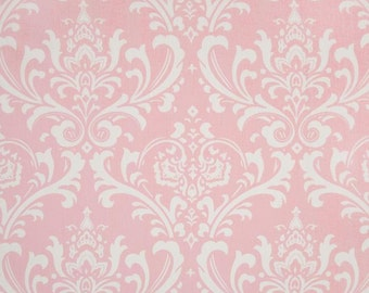 Ozborne Twill Bella Pink - One Yard - Premier Prints Fabric - White and Pink Damask Home Decor Fabric