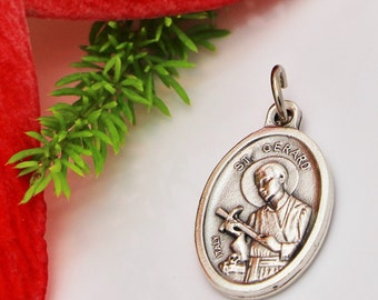 St gerard etsy st gerard majella medal our lady of perpetual help patron of expectant mothers aloadofball Image collections