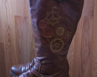 Embroidered Steampunk Boots,  Embroidered Boots-Reworked-Upcycled