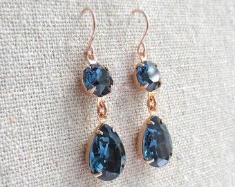 Swarovski Crystal Dark Navy Blue Teardrop Simple Delicate Dangling Rose Gold Bridal Earrings Wedding Jewelry Bridesmaids Gifts