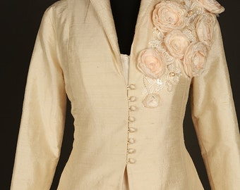 SALE... Floral champagne silk bridal coat, jacket full length, floral detail. Mother of the bride outfit,