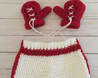 Newborn Boxing Set, Baby Boxing Set Outfit, Newborn Boxing Gloves and Shorts, Newborn Photography Prop, Baby Boxer outfit, newborn fighter