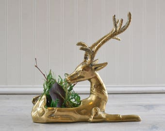 Vintage Brass Deer Figurine Planter - Large Reindeer Gold Christmas Decor Holder Dish Succulent