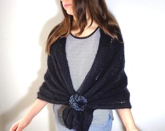 Black mohair shawl, lace knitted shawl, lace wool black shawl, black filmy shawl, statement ceremony black shawl