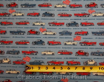 Old Guys Rule Vintage Cars on Denim Blue BY YARDS Robert Kaufman Cotton Fabric