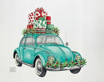 Christmas VW bug art print, christmas, holiday watercolor painting, volkswagen beetle, classic car, archival print, volkswagen bug,vw beetle