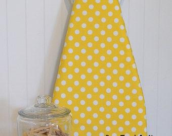 New!  Designer Ironing Board Cover - Riley Blake Dots Medium Yellow