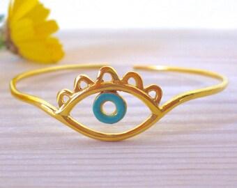 Evil Eye Bracelet Gold, Evil Eye Bangle, Inspirational women gift, Evil Eye Jewelry, Turquoise Bracelet, Evil Eye Bangle,  Eye Wire Bracelet